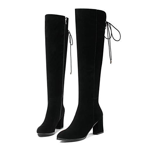HOESCZS 2019 Damenmode Kniehohe Stiefel Stiefel Stiefel Lace Up Design Spitz Echtem Fashion Square High Heel Frauen Stiefel Größe 34-40 77ea99