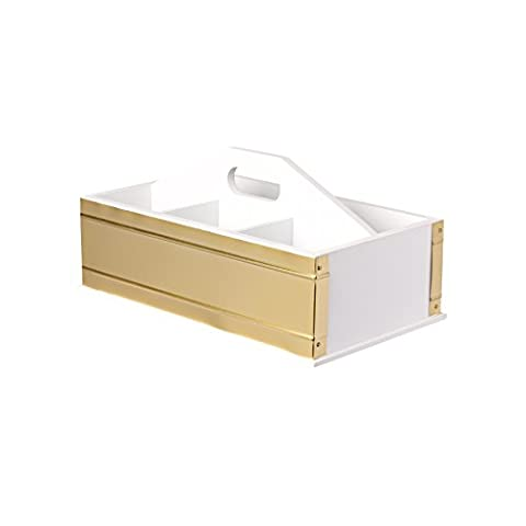 Kate and Laurel Industrious Desktop Office Supply Caddy Organizer, White and Gold (White And Gold Supplies)
