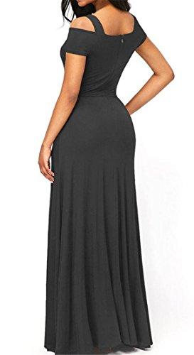 Cocktail Gray Long Domple Swing Shoulder V Women Cold Neck Deep Split Slim High Dress q61qFvnwO4