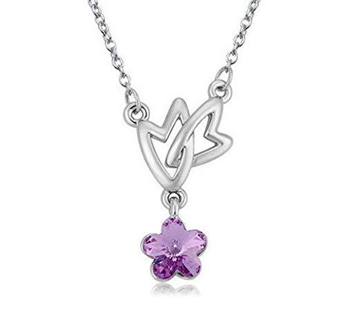 Womens Heart Stars Purple Crystal Rhinestone Silver Chain Pendant Necklace New -