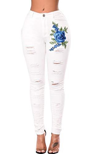 Nimpansa Le Donne Jeans Attillati Casaul Strappato I Pantaloni Lunghi Embroided Buco Nero White