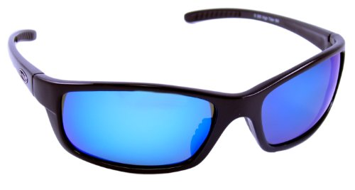 Sea Striker High Tider Polarized Sunglasses with Black Frame,Blue Mirror and Grey Lens (Fits Medium to Large Faces)