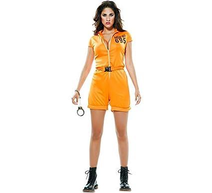 EUROCARNAVALES Disfraz de Prisionera Naranja para Mujer ...