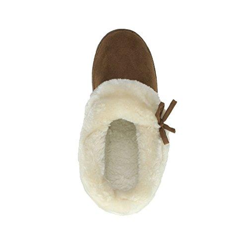 Bottes Chaussures En Talon Fausse Femmes Roux Pantoufles Pointure Bas Fourrure Brun Doux Ajvani wHCfqx4