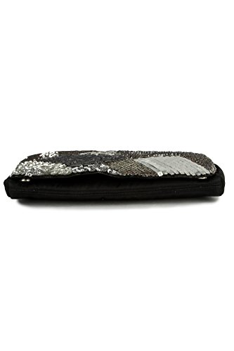 MyBatua tradizionale Madeline nero e argento Signore frizione borsa ACP-109