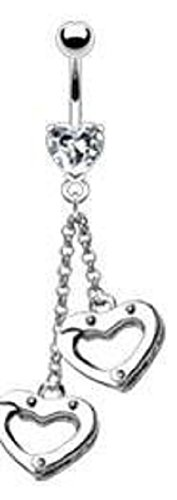 Belly Button Ring Navel Heart Handcuffs Body Jewelry 14 Gauge -