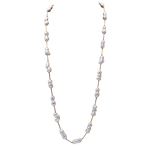 Freshwater Pearl Baroque - JYX Pearl Long Strand Necklace White Freshwater Cultured Baroque Pearl Necklace for Women 31