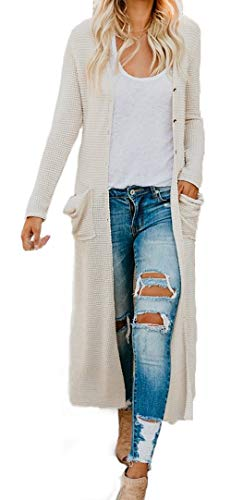 HZSONNE Women's Boho Long Sleeve Button Down Front Pocket Long Casual Cardigan Knitted Sweater Blouses Beige