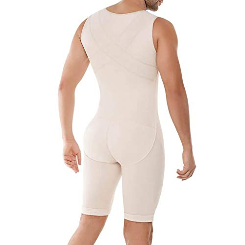 Voberry Men's Shapewear Bodysuit Full Body Shaper Stomach Compression Slimming Suit Breathable Khaki ()