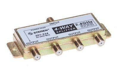 STEREN 4-Way 2.4GHz 90dB 1 Port Power Pass DC Passing On One Port F-Pin Coaxial Splitter [201-234] (Pass Coax Splitter Dc)
