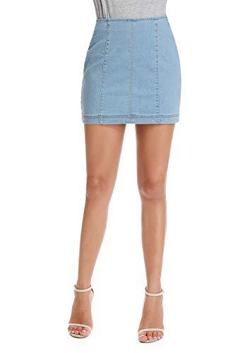 High Waisted A-line Zip-Back Jean Skirt Stretch Denim Short Skirt No Pockets,Blue 4/6