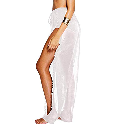 (hositor Pants for Women, Ladies Long Pant Bikini Bottom Cover up High Split Beach Trouser Beachwear White)