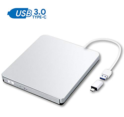 ZSMJ External DVD Drive, USB 3.0 Portable CD DVD +/-RW Burner Slim DVD/CD Writer Player High Speed Data Transfer Optical Drive for MacBook Air, MacBook Pro, Mac OS, PC Laptop (Sliver)