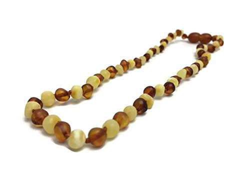 Baltic Amber Teething Necklace for Babies 100% Certified Authentic Raw Milk Cognac by Baltic Essentials
