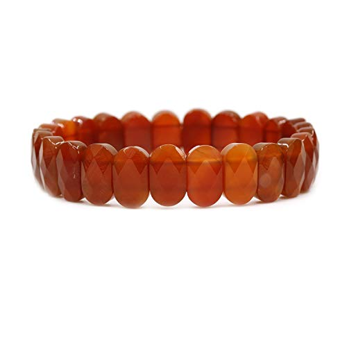 Red Agate Gemstone 14mm Faceted Oval Beads Stretch Bracelet 7
