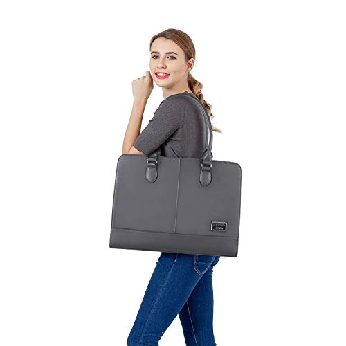 MOSISO Laptop Tote Bag for Women (Up to 15.6 Inch), Premium PU Leather Large Capacity with 3 Layer Compartments Business Work Travel Shoulder Briefcase Handbag, Space Gray by MOSISO (Image #4)