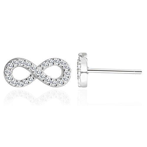 Spoil Cupid 925 Sterling Silver Cubic Zirconic Full Set Infinity Stud Earrings
