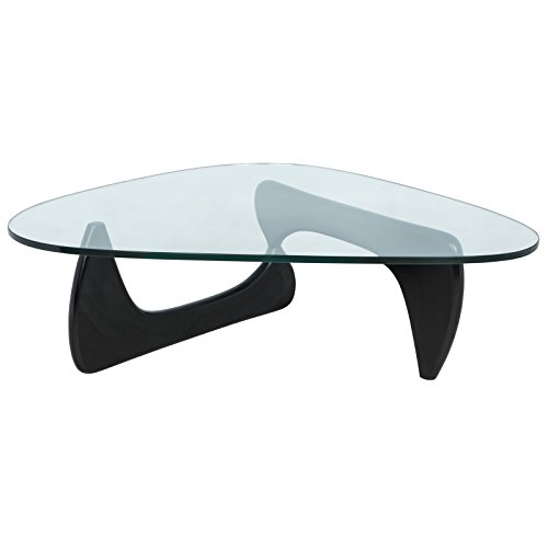LeisureMod Imperial Glass Top Triangle Coffee Table (Black (Harmony Round Side Table)