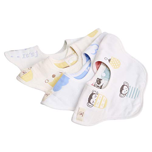 Baby Bibs 360 Rotational Organic Cotton Baby Drool Bibs Breathable Bandana Bib for Drooling 4pcs