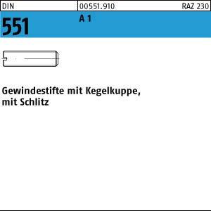 1.4305 Gewindestifte mit Kegelkuppe und Schlitz DIN 551 Edelstahl A1