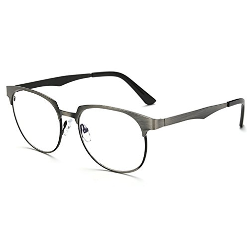 Rnow New Anti-Glare Anti-Blue Rays Sunglasses Brushed Metal Square Blue Tinted Lens Computer Gaming - Eyeglasses New Girl