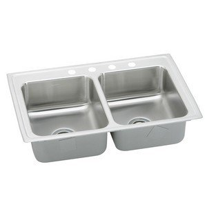 Elkay LRAD2918400 0-Hole Double Basin Top-Mount from the Gourmet Lustertone Series Stainless Steel Kitchen Sink ()