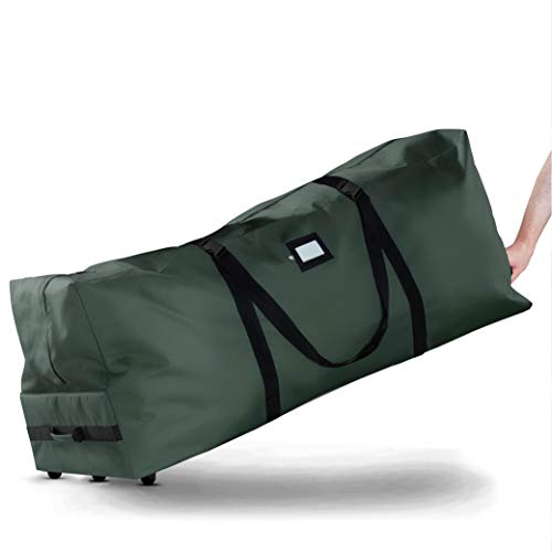 Rolling Large Christmas Tree Storage Bag - Fits Upto 9 ft. Artificial Disassembled Trees, Durable Handles & Wheels for Easy Carrying and Transport - Tear Proof 600D Oxford Duffle Bag - 5 Year Warranty
