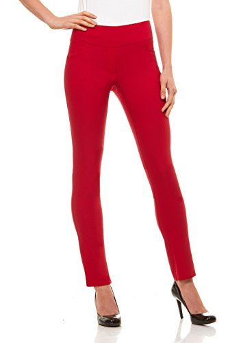 Velucci Womens Straight Leg Dress Pants - Stretch Slim Fit Pull On Style, Red-S