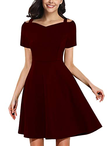 HELYO Prime Wardrobe Womens Clothing Casual Elegant Party Dress Sweetheart Neckline A Line Work Swing Dresses 268 (XL, Red Wine)