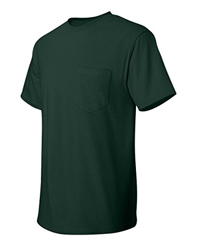 Hanes Adult Tagless Tee with Pocket, Deep Forest, (Jersey Pocket Tee)
