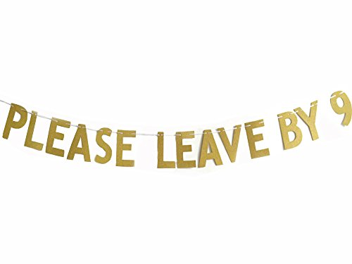 MAGQOO Please Leave By 9 Funny Rude Customize your Party Banner Signs Holiday Party Hanging Letter Sign