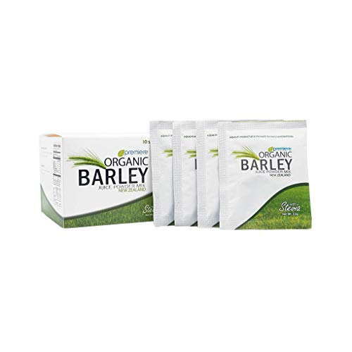 Organic Barley Juice Powder with Stevia | 21st Century Super Food Drink | Provides nutrients for Survival including Proteins, 8 Amino Acids, Alkalizing Minerals | New Zealand Quality Box of 10 packs