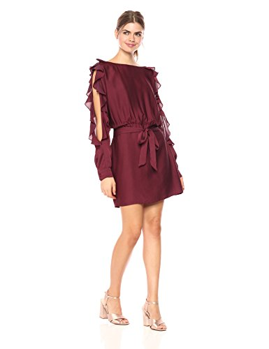 Wild Meadow Women's Bubble Satin Ruffle Sleeve Dress