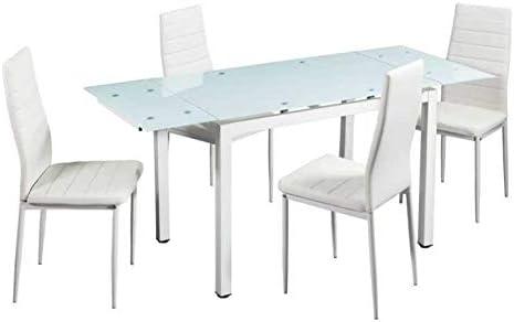 Mobistic - Conjunto Comedor Vian Mesa Extensible y 4 sillas Blanco ...