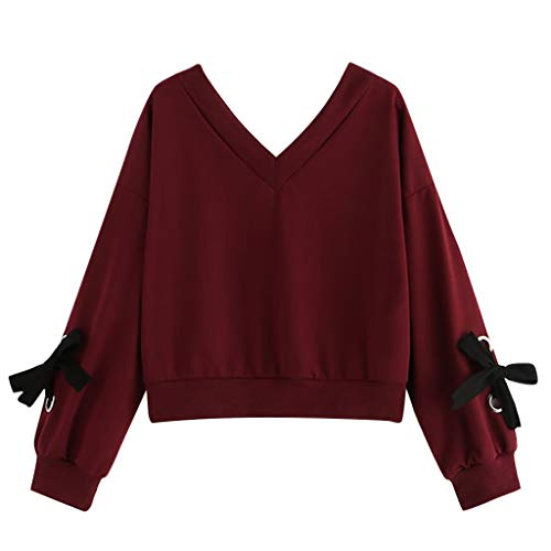 DFHDSF Top Women Casual Long Sleeve Sweatshirt V-Neck Bow Tie Pullover Blouse(Wine,L)