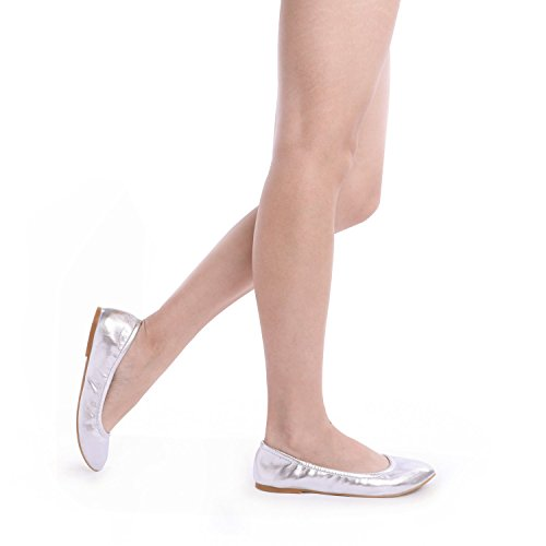 Flats Sole Solid Shoes Ballet DREAM Women's Silver PAIRS Plain Fina 6W7nnF0x4