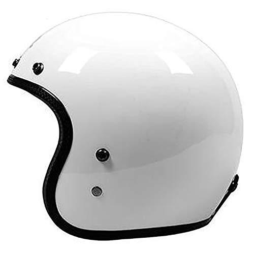 YLee Open Motorcycle Helmet FRP Helmet Retro Half Helmet Open Face 3/4 Cruiser Scooter Scooter DOT Approved Men and Women Independent Helmet,White,XL