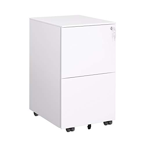 DEVAISE Locking File Cabinet, 2 Drawer Rolling Metal Filing Cabinet, Fully Assembled Except Wheels, White