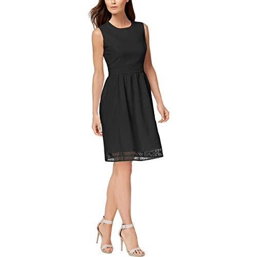 (Calvin Klein Womens Petites Lace Trim Sleeveless Party Dress Black 0P)