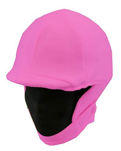 Fleece Equestrian Riding Helmet Cover - Hot Pink - -