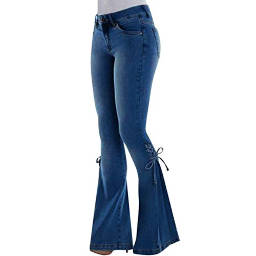 Kardashian Jeans,Women High Waisted Denim Stretch Slim Wide Leg Pants]()