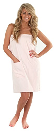 VEAMI Women's Spa Wrap Towel with Snap Closure -Ice ()