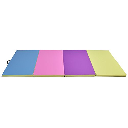 EnjoyShop 4′ x 10′ x 2″ Multi-Colors Folding PU Panel Gymnastics Mat Eco-Friendly Advanced Material Cloth & EPE Foam Gymnastics Mat, Multi Colors Mats
