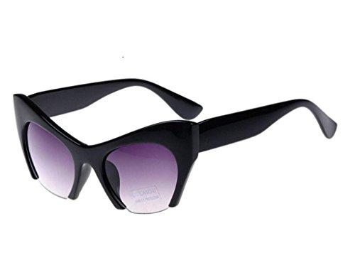 Xingzhihai Retro Vintage Women Cat Eye Cool Fashion Stars Sunglasses Bright Black