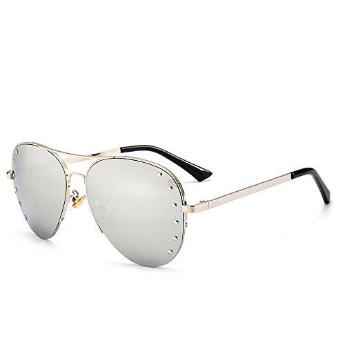 del Espejo de Cristal la de Marco Sunnies Espejo Las oras Las lunetas Plata Media de Mujeres t¨¦ Metal de Pynxn Aviador de Manera Se C6 Decoraci¨®n C1 Oculos Gafas qOaZtxTnw0