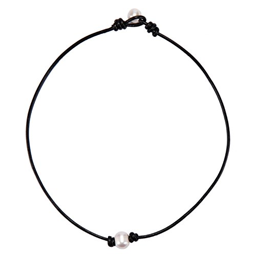 Single White Pearl Choker Necklace On Black Leather Cord for Women Handmade, 16