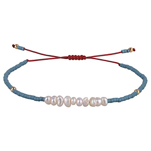 KELITCH Seed Bead Friendship Bracelets Woven Braided Natural Pearl Wax Rope Adjustable String Bracelets Fashion Handmade Gifts(Lake Blue)