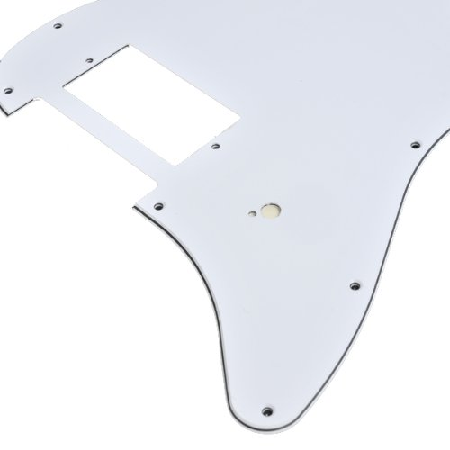 Kmise A2132 1 Piece White 3-Ply One Humbucker Pickguard for Fender Strat Guitar Replacement