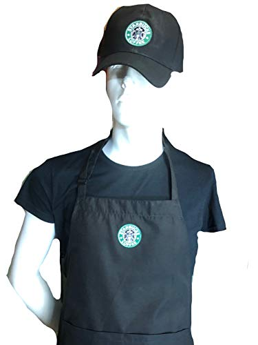 Ultimate Aprons Beautiful Starbucks Black Apron Center Pocket Embroidered Logo Patch (Apron + HAT)