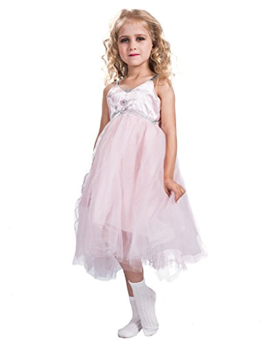 FantastCostumes Girl's Pink Sleeveless Lace Princess Costumes Dresses(Pink, 3T-4T)